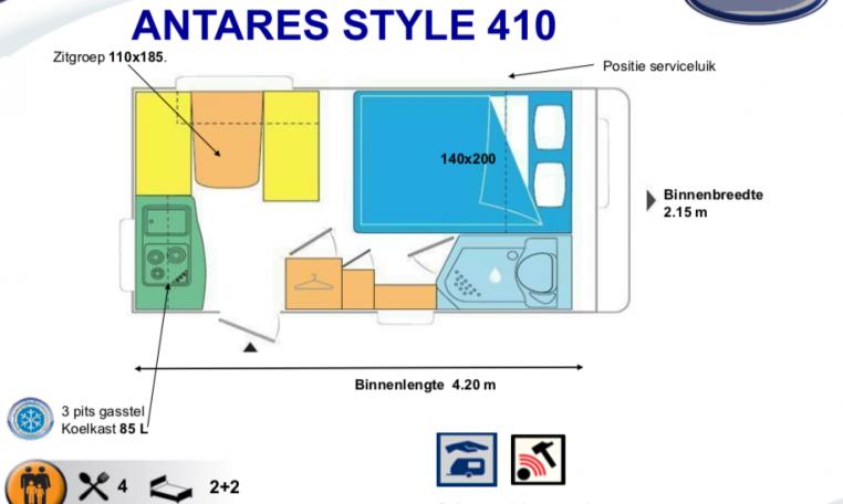 2020 Caravelair Antares Style 410 caravan indeling