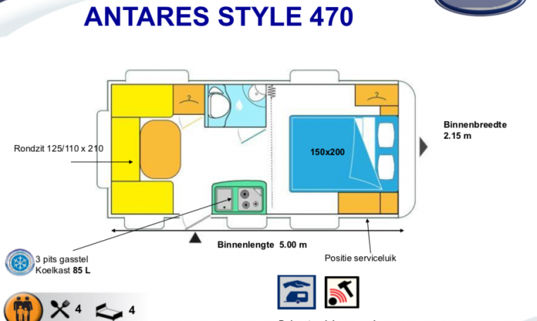 2020 Caravelair Antares Style 470 caravan indeling