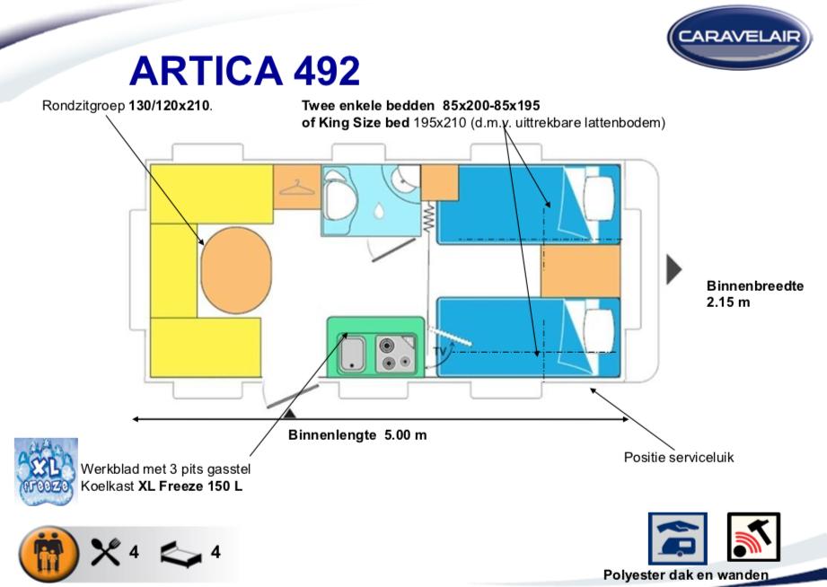 2020 Caravelair Artica 492 caravan indeling