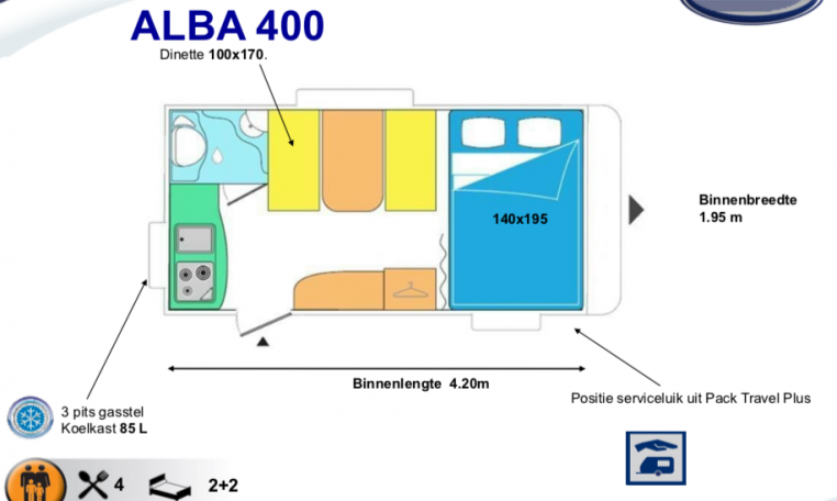 2020 Caravelair Alba 400 indeling
