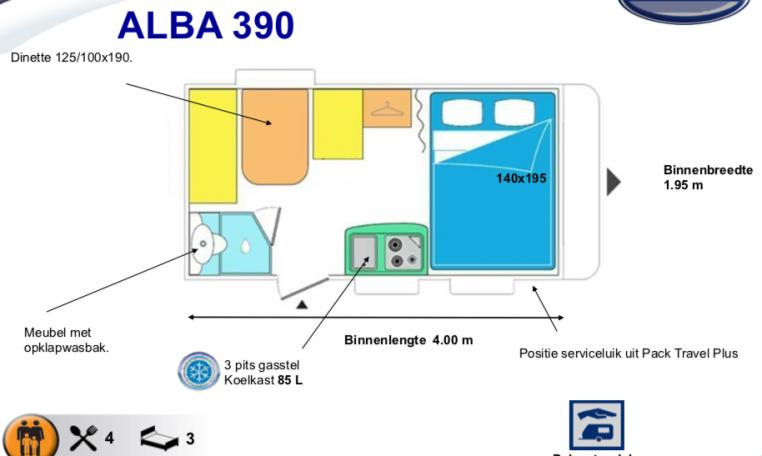 2020 Caravelair Alba 390 indeling