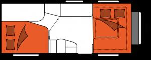 2020 Hobby Caravan Excellent 540 FU nachtindeling