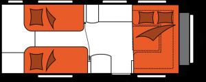 2020 Hobby Caravan Excellent 540 WLU nachtindeling