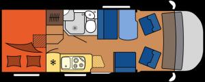2020 Hobby Camper Optima OnTour Edition V65 GF dagindeling