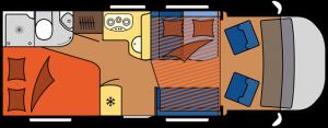 2019 Hobby Camper Optima OnTour T65 HFL dagindeling