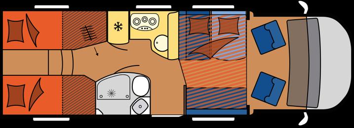2020 Hobby Camper Optima Premium T75 HGE dagindeling
