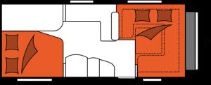 2020 Hobby Prestige 560 FC Caravan nachtindeling