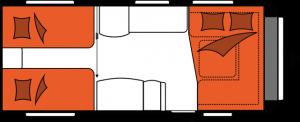 2020 Hobby Prestige 560 LU Caravan nachtindeling