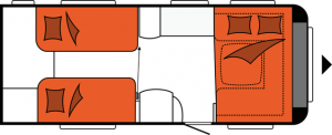 2020 Hobby Prestige 560 WLU Caravan nachtindeling