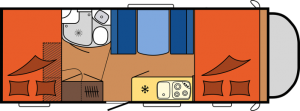 2020 Hobby Camper Optima Siesta De Luxe A70 GM dagindeling
