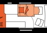 2020 Hobby Buscamper Vantana De Luxe K60 FT nachtindeling