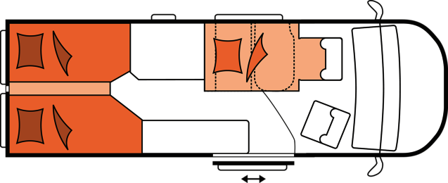 2020 Hobby Buscamper Vantana De Luxe K65 ET nachtindeling