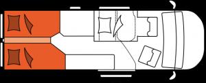 2020 Hobby Buscamper Vantana OnTour K65 ET nachtindeling