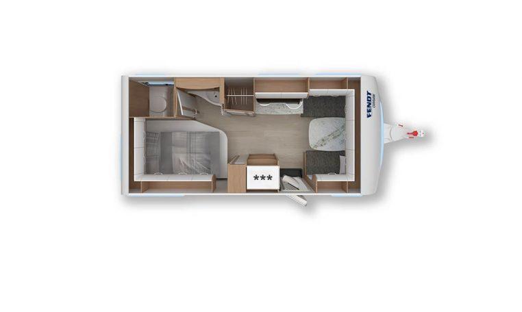2020 Fendt Opal 465 sfh caravan indeling