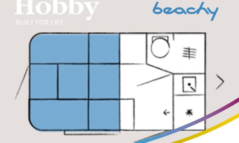 Hobby Beachy 360 model 2021 plattegrond slapen