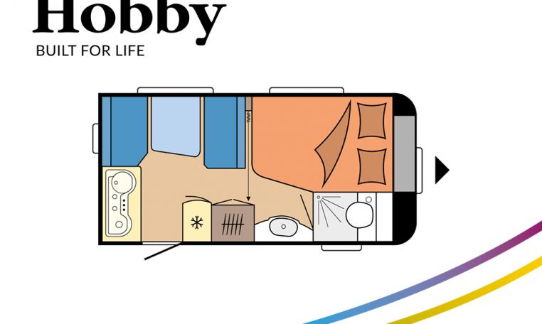 Hobby De Luxe 400 SFe model 2022 Cannenburg plattegrond