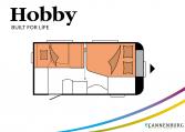 Hobby De Luxe 400 SFe model 2022 Cannenburg plattegrond slapen