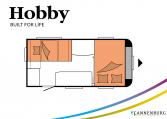 Hobby De Luxe 440 SF model 2022 Cannenburg plattegrond slapen