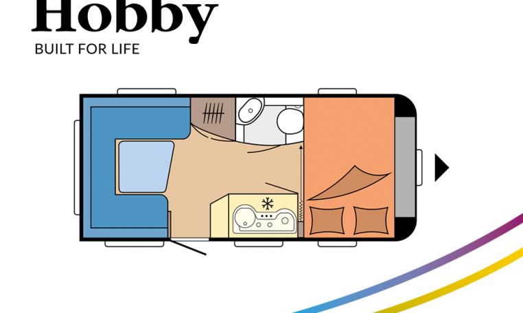 Hobby De Luxe 455 UF model 2022 Cannenburg plattegrond