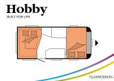 Hobby De Luxe 455 UF model 2022 Cannenburg plattegrond slapen