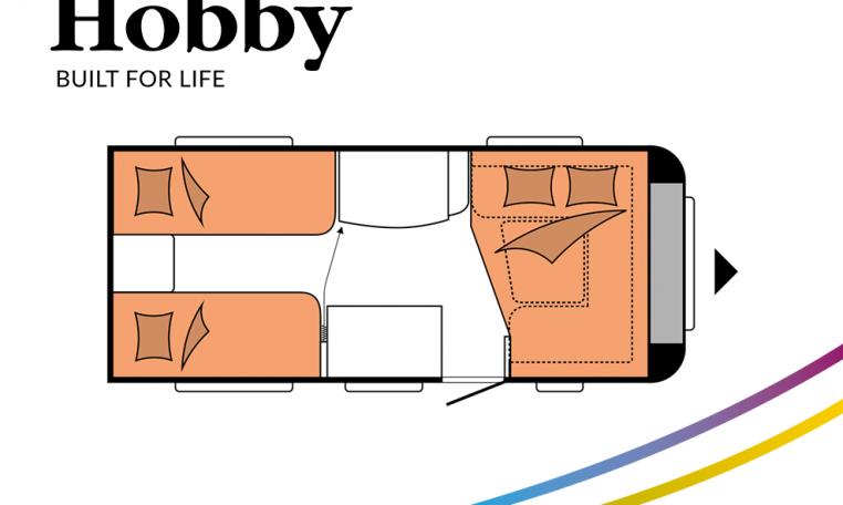 Hobby De Luxe 460 LU model 2022 Cannenburg Plattegrond slapen