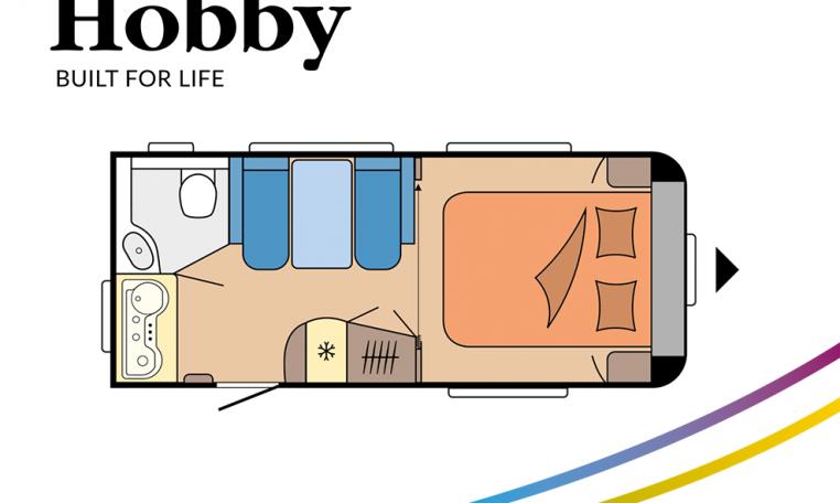 Hobby De Luxe 460 SFf model 2022 Cannenburg Plattegrond
