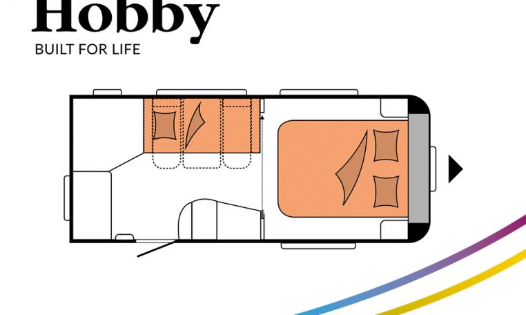 Hobby De Luxe 460 SFf model 2022 Cannenburg Plattegrond slapen