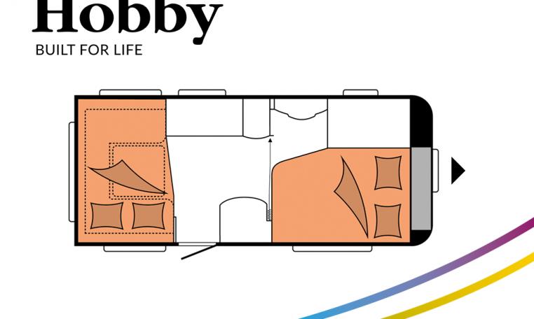 Hobby De Luxe 460 UFe model 2022 Cannenburg Plattegrond slapen