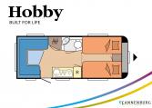 Hobby De Luxe 495 UL model 2022 Cannenburg Plattegrond