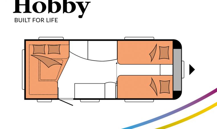 Hobby De Luxe 495 UL model 2022 Cannenburg Plattegrond slapen