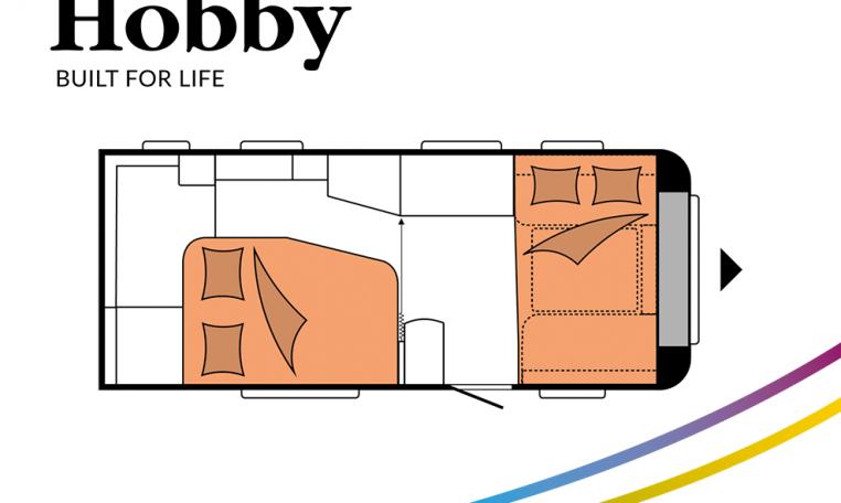 Hobby De Luxe 495 WFB model 2022 Cannenburg Plattegrond Slapen