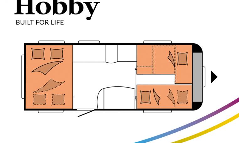 Hobby De Luxe 515 UHK model 2022 Cannenburg Plattegrond slapen