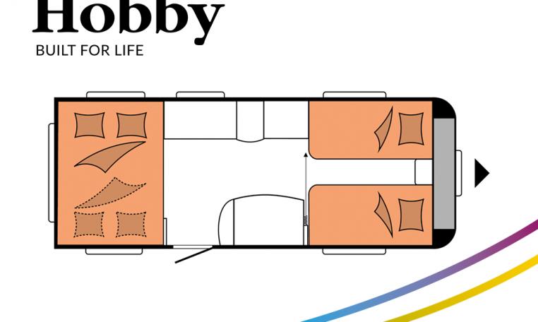 Hobby De Luxe 515 UHL model 2022 Cannenburg Plattegrond slapen bedden