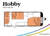 Hobby De Luxe 540 KMFe model 2022 Cannenburg Plattegrond Slapen