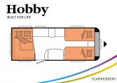 Hobby De Luxe 540 UL model 2022 Cannenburg Plattegrond slapen