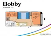 Hobby De Luxe 545 KMF model 2022 Cannenburg Plattegrond
