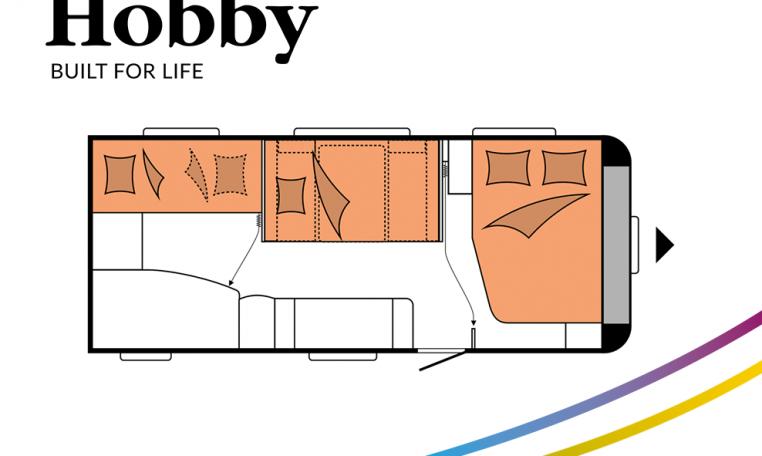 Hobby De Luxe 545 KMF model 2022 Cannenburg Plattegrond slapen