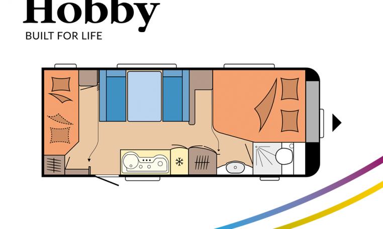 Hobby De Luxe 560 KMFe model 2022 Cannenburg Plattegrond