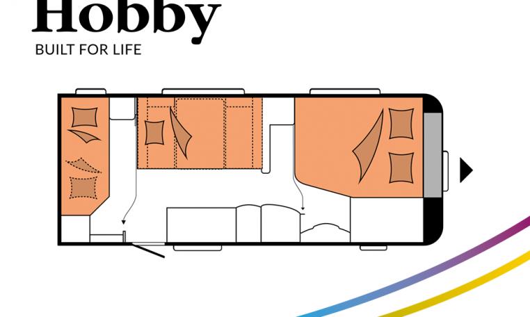 Hobby De Luxe 560 KMFe model 2022 Cannenburg Plattegrond Slapen