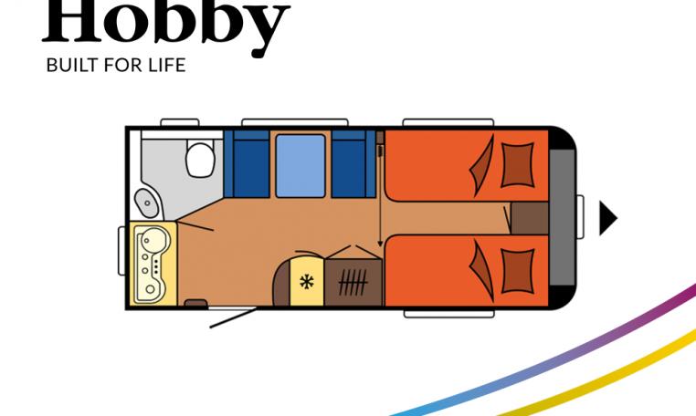 Hobby Excellent 460SL model 2022 Cannenburg plattegrond