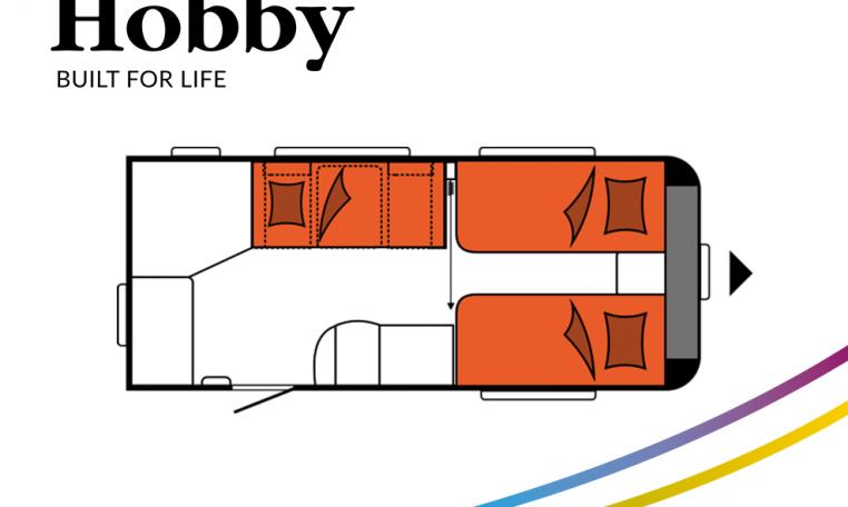 Hobby Excellent 460SL model 2022 Cannenburg plattegrond slapen