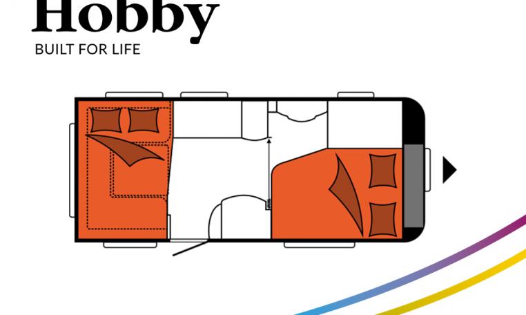 Hobby Excellent 495 UFe model 2022 Cannenburg plattegrond slapen