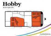 Hobby Excellent 495 WFB model 2022 Cannenburg plattegrond slapen