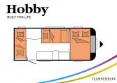 Hobby Excellent Edition 490 KMF model 2022 Cannenburg plattegrond slapen