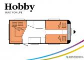 Hobby Excellent Edition 495 UL Excellent Edition model 2022 Cannenburg Plattegrond slapen