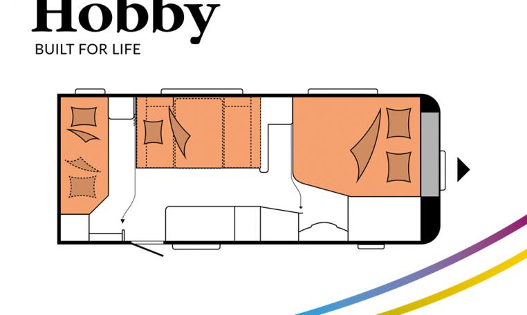 Hobby Excellent Edition 560 KMFe Excellent Edition model 2022 Cannenburg Plattegrond slapen