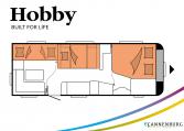 Hobby Excellent Edition 650 KMFe Excellent Edition model 2022 Cannenburg Plattegrond slapen