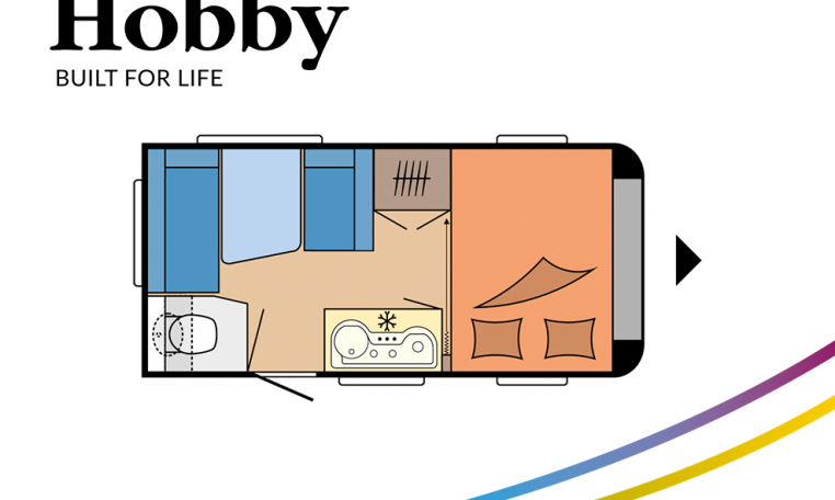 Hobby ONTOUR 390 SF model 2022 Cannenburg plattegrond