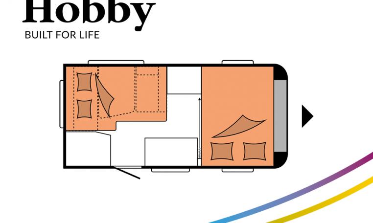 Hobby ONTOUR 390 SF model 2022 Cannenburg plattegrond slapen