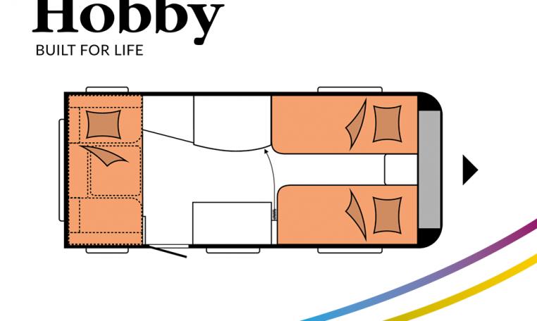 Hobby ONTOUR 460 DL model 2022 Cannenburg plattegrond slapen